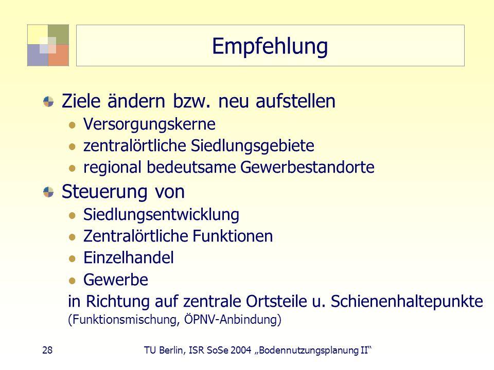 28 TU Berlin, ISR SoSe 2004 Bodennutzungsplanung II Empfehlung Ziele ändern bzw. neu aufstellen Versorgungskerne zentralörtliche Siedlungsgebiete regi