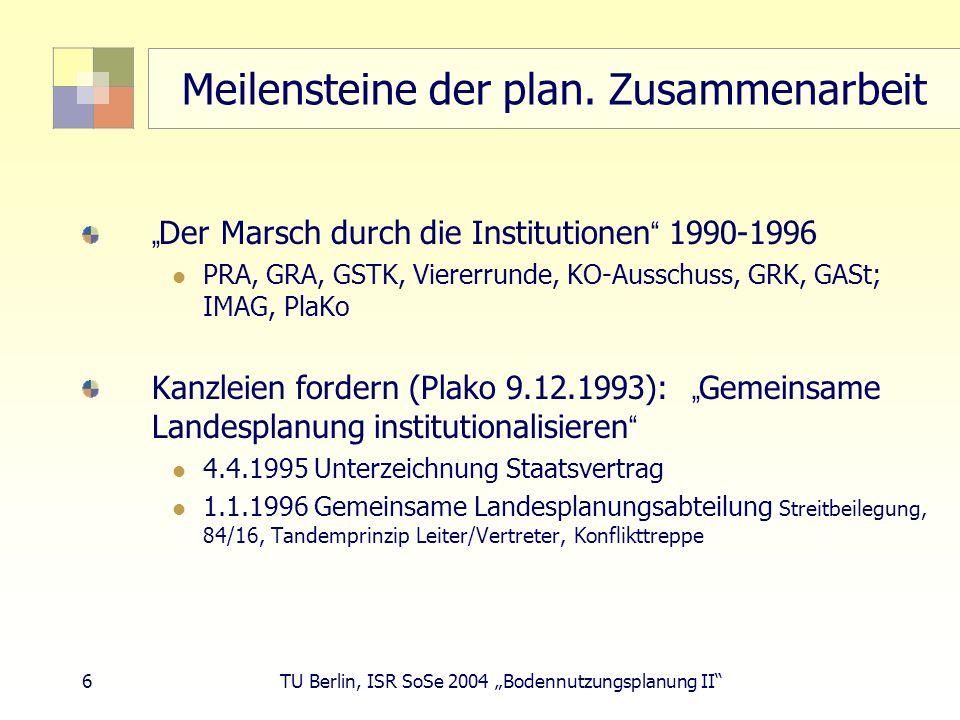 6 TU Berlin, ISR SoSe 2004 Bodennutzungsplanung II Meilensteine der plan. Zusammenarbeit Der Marsch durch die Institutionen 1990-1996 PRA, GRA, GSTK,