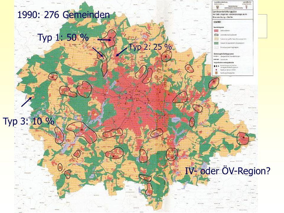 9 TU Berlin, ISR SoSe 2004 Bodennutzungsplanung II LEP eV - Ziele des Planes Typ 3: 10 % Typ 1: 50 % Typ 2: 25 % 1990: 276 Gemeinden IV- oder ÖV-Regio