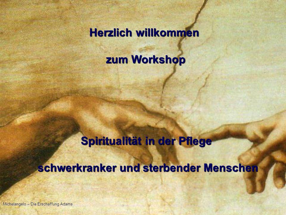 14.05.2010 Christel Ludewig Herzlich willkommen zum Workshop zum Workshop Spiritualität in der Pflege schwerkranker und sterbender Menschen Michelange