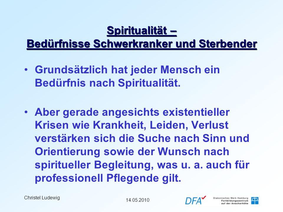 14.05.2010 Christel Ludewig Spiritualität – Bedürfnisse Schwerkranker und Sterbender