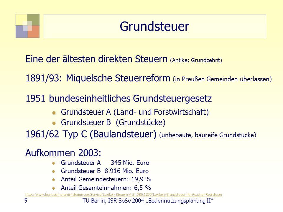 5 TU Berlin, ISR SoSe 2004 Bodennutzungsplanung II Grundsteuer Eine der ältesten direkten Steuern (Antike; Grundzehnt) 1891/93: Miquelsche Steuerrefor