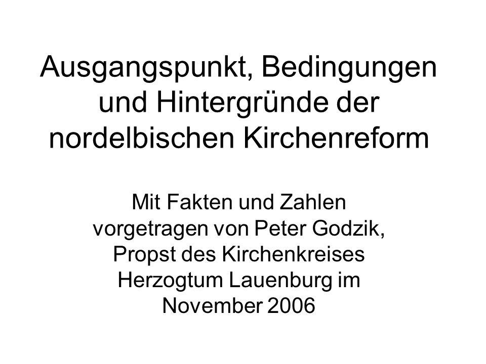 Ausgangspunkt, Bedingungen und Hintergründe der nordelbischen Kirchenreform Mit Fakten und Zahlen vorgetragen von Peter Godzik, Propst des Kirchenkreises Herzogtum Lauenburg im November 2006
