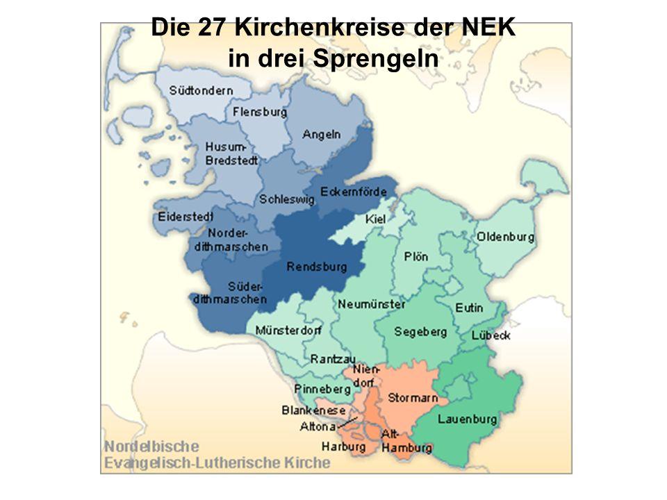 Die 27 Kirchenkreise der NEK in drei Sprengeln