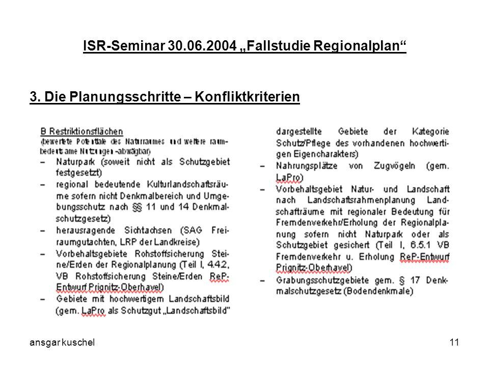 ansgar kuschel11 ISR-Seminar 30.06.2004 Fallstudie Regionalplan 3. Die Planungsschritte – Konfliktkriterien