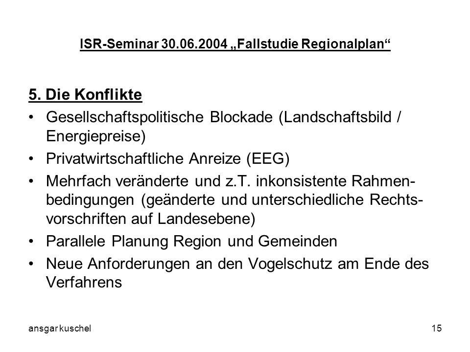 ansgar kuschel15 ISR-Seminar 30.06.2004 Fallstudie Regionalplan 5. Die Konflikte Gesellschaftspolitische Blockade (Landschaftsbild / Energiepreise) Pr