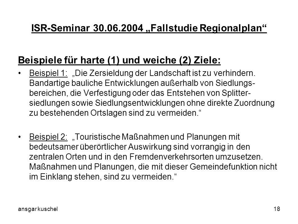 ansgar kuschel18 ISR-Seminar 30.06.2004 Fallstudie Regionalplan Beispiele für harte (1) und weiche (2) Ziele: Beispiel 1: Die Zersieldung der Landscha
