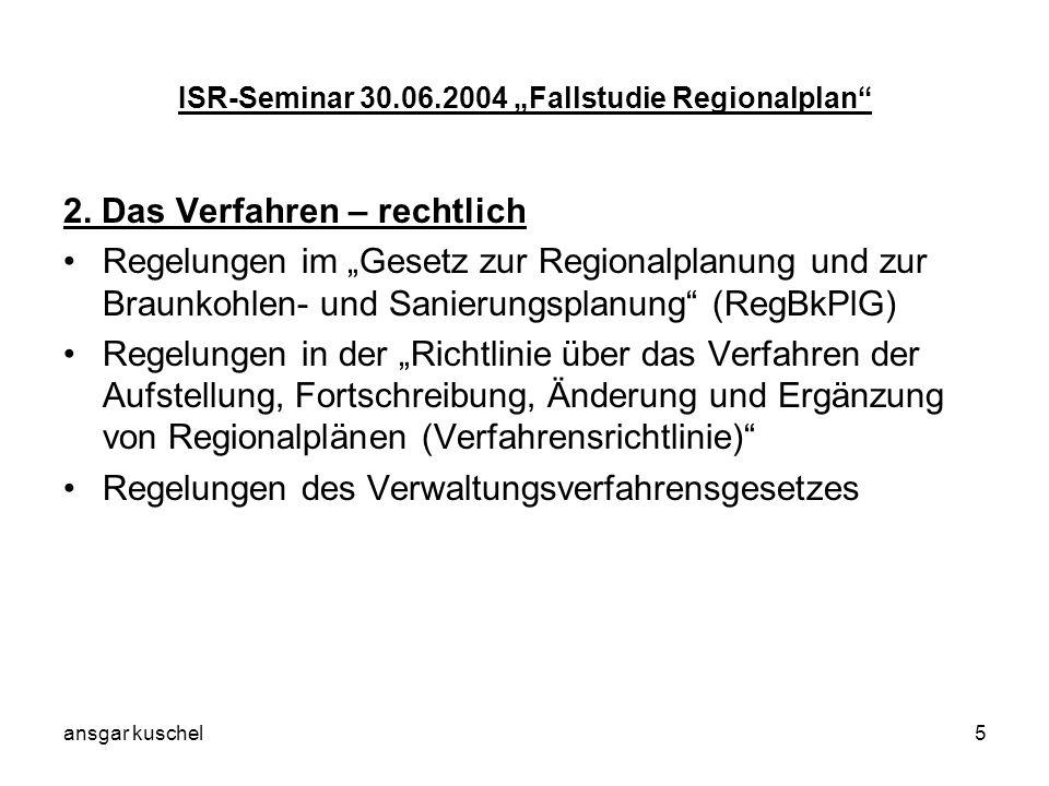 ansgar kuschel5 ISR-Seminar 30.06.2004 Fallstudie Regionalplan 2. Das Verfahren – rechtlich Regelungen im Gesetz zur Regionalplanung und zur Braunkohl