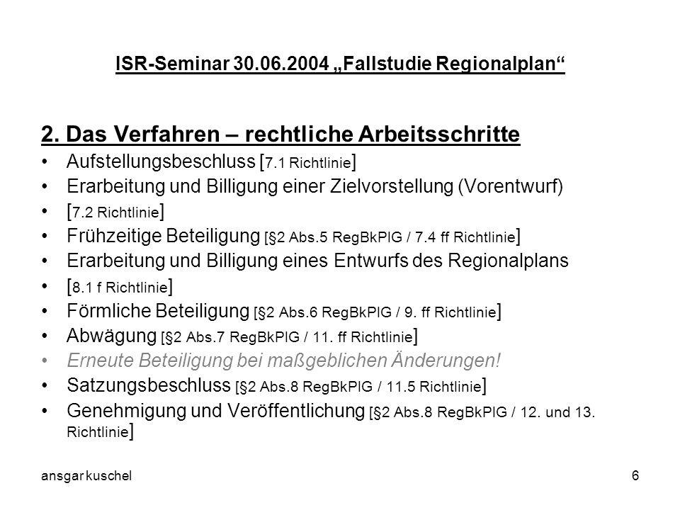 ansgar kuschel6 ISR-Seminar 30.06.2004 Fallstudie Regionalplan 2. Das Verfahren – rechtliche Arbeitsschritte Aufstellungsbeschluss [ 7.1 Richtlinie ]