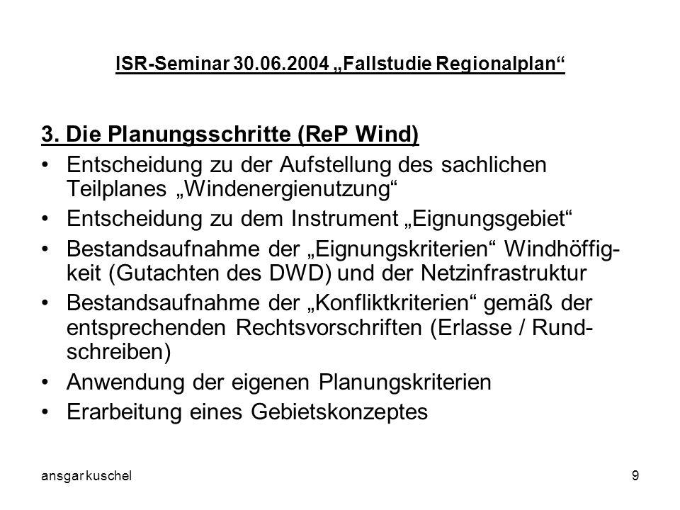 ansgar kuschel9 ISR-Seminar 30.06.2004 Fallstudie Regionalplan 3. Die Planungsschritte (ReP Wind) Entscheidung zu der Aufstellung des sachlichen Teilp