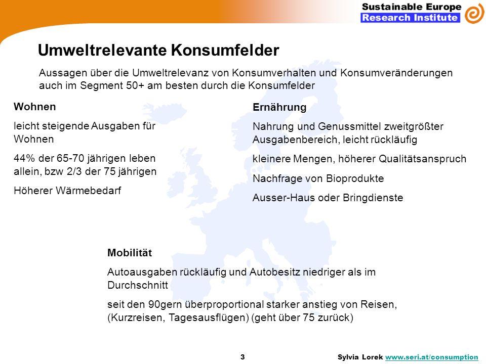 Umweltrelevante Konsumfelder 3 Sylvia Lorek www.seri.at/consumptionwww.seri.at/consumption Aussagen über die Umweltrelevanz von Konsumverhalten und Ko