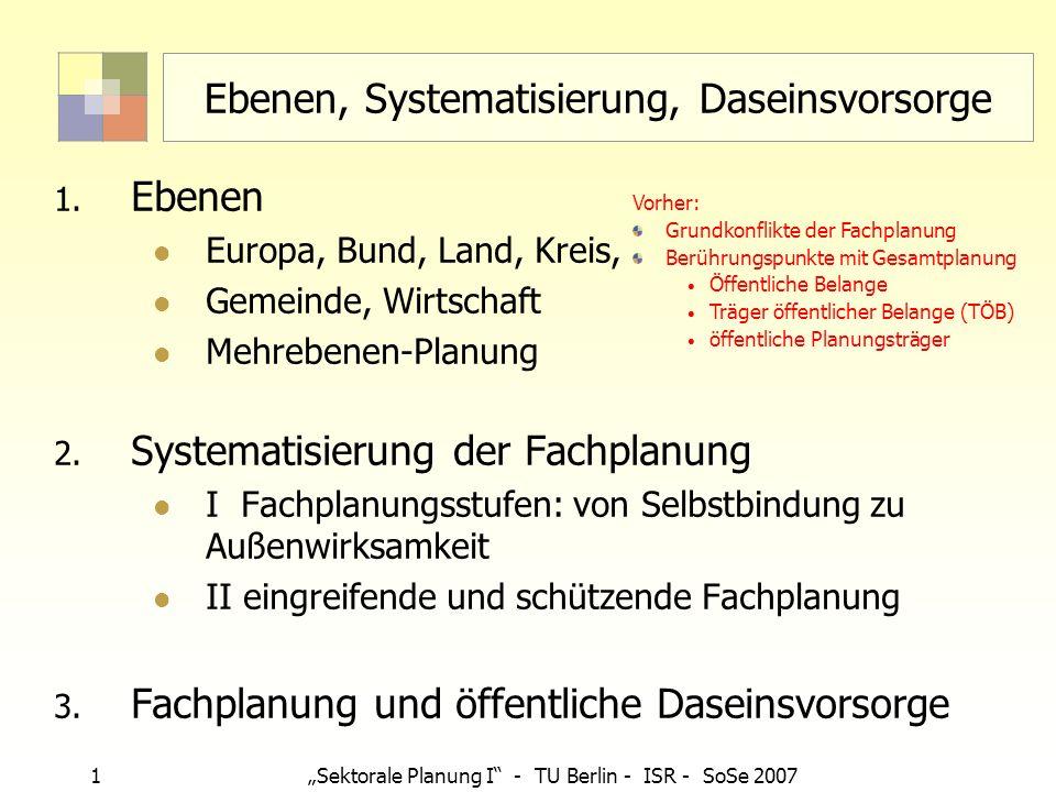 1 Sektorale Planung I - TU Berlin - ISR - SoSe 2007 Ebenen, Systematisierung, Daseinsvorsorge 1. Ebenen Europa, Bund, Land, Kreis, Gemeinde, Wirtschaf