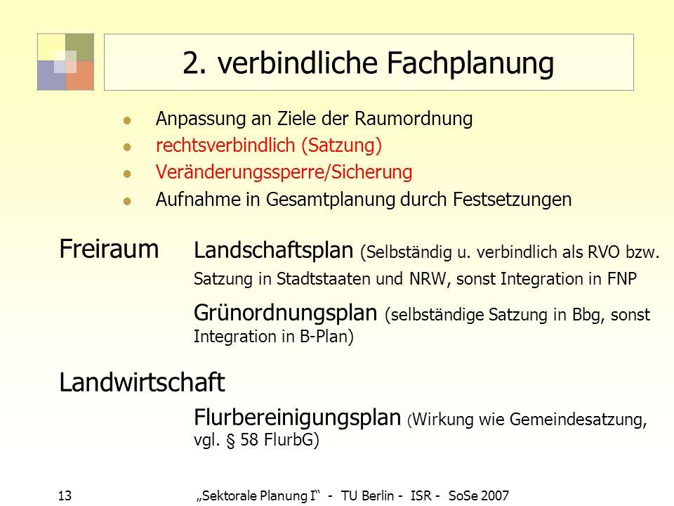 13 Sektorale Planung I - TU Berlin - ISR - SoSe 2007 2. verbindliche Fachplanung Anpassung an Ziele der Raumordnung rechtsverbindlich (Satzung) Veränd