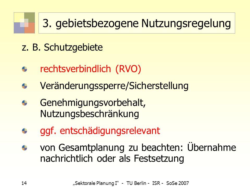 14 Sektorale Planung I - TU Berlin - ISR - SoSe 2007 3. gebietsbezogene Nutzungsregelung z. B. Schutzgebiete rechtsverbindlich (RVO) Veränderungssperr