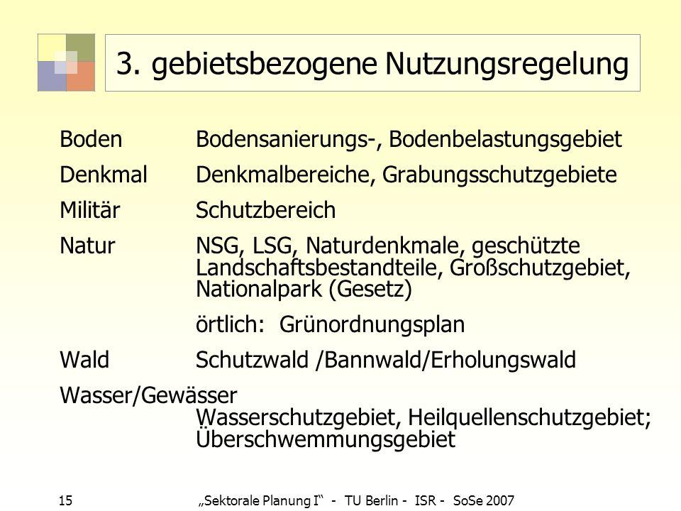15 Sektorale Planung I - TU Berlin - ISR - SoSe 2007 3. gebietsbezogene Nutzungsregelung BodenBodensanierungs-, Bodenbelastungsgebiet DenkmalDenkmalbe