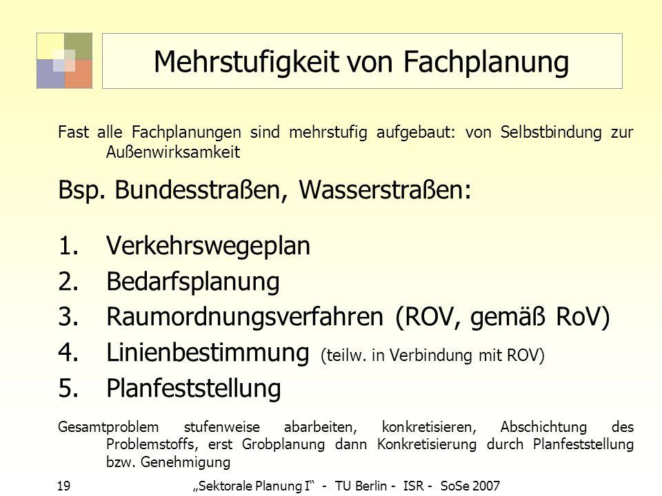 19 Sektorale Planung I - TU Berlin - ISR - SoSe 2007 Mehrstufigkeit von Fachplanung Fast alle Fachplanungen sind mehrstufig aufgebaut: von Selbstbindu