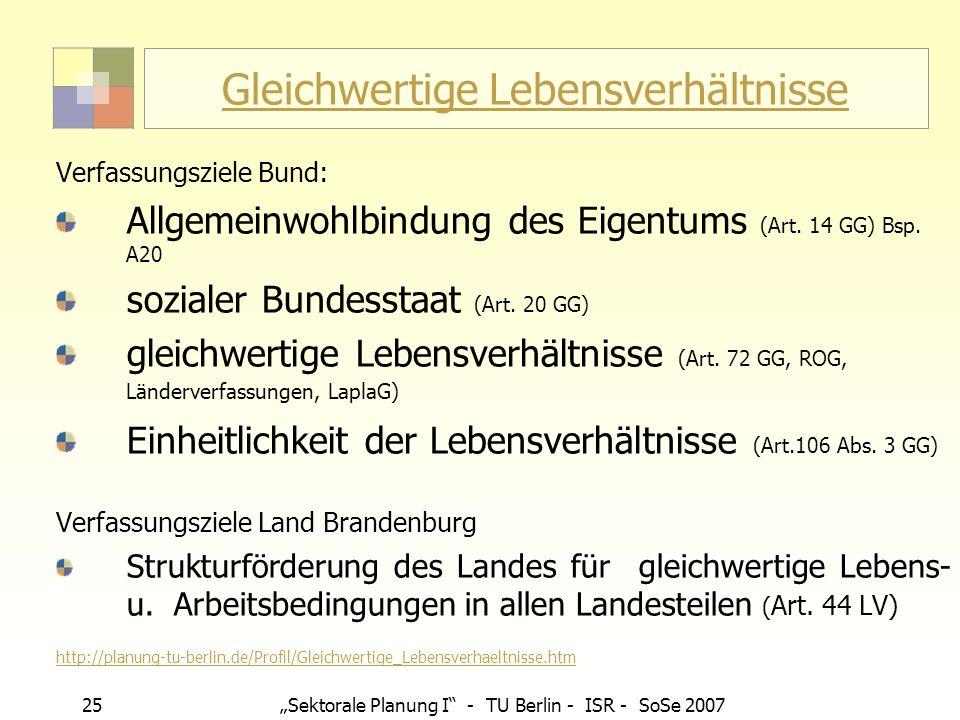25 Sektorale Planung I - TU Berlin - ISR - SoSe 2007 Gleichwertige Lebensverhältnisse Verfassungsziele Bund: Allgemeinwohlbindung des Eigentums (Art.