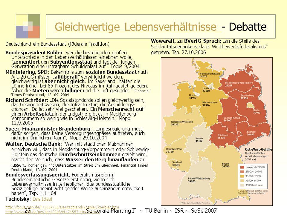 27 Sektorale Planung I - TU Berlin - ISR - SoSe 2007 Gleichwertige Lebensverhältnisse Gleichwertige Lebensverhältnisse - Debatte Deutschland ein Bunde