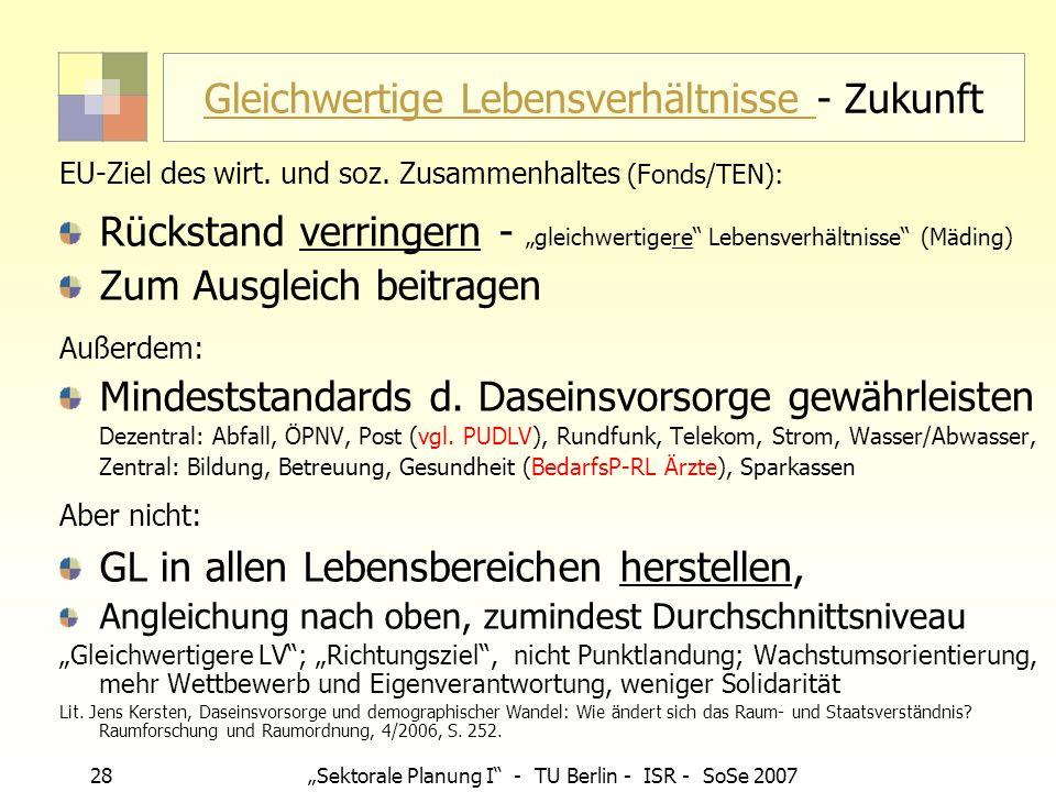 28 Sektorale Planung I - TU Berlin - ISR - SoSe 2007 Gleichwertige Lebensverhältnisse Gleichwertige Lebensverhältnisse - Zukunft EU-Ziel des wirt. und