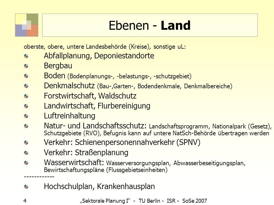 5 Sektorale Planung I - TU Berlin - ISR - SoSe 2007 Ebenen - Kreis, kreisfreie Stadt Selbstverwaltungsaufgaben Personenbeförderung (i.d.R.