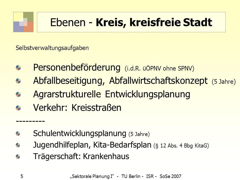 6 Sektorale Planung I - TU Berlin - ISR - SoSe 2007 Ebenen - Gemeinde Selbstverwaltungsaufgaben, teilweise pflichtig: Agrarstrukturelle Entwicklungsplanung (AEP) Denkmalschutz (DS-Bereiche als Satzung, Denkmalpflegepläne) Landschaftsplan/Grünordnungsplan Lärmminderungsplan Verkehr: Gemeindestraßen Wasserversorgung, Abwasserbeseitigung, -s konzept (alle 5 Jahre) -------------- Sportstättenentwicklungsplan Stadtentwicklungsplan/ Stadtentwicklungskonzept (z.B.