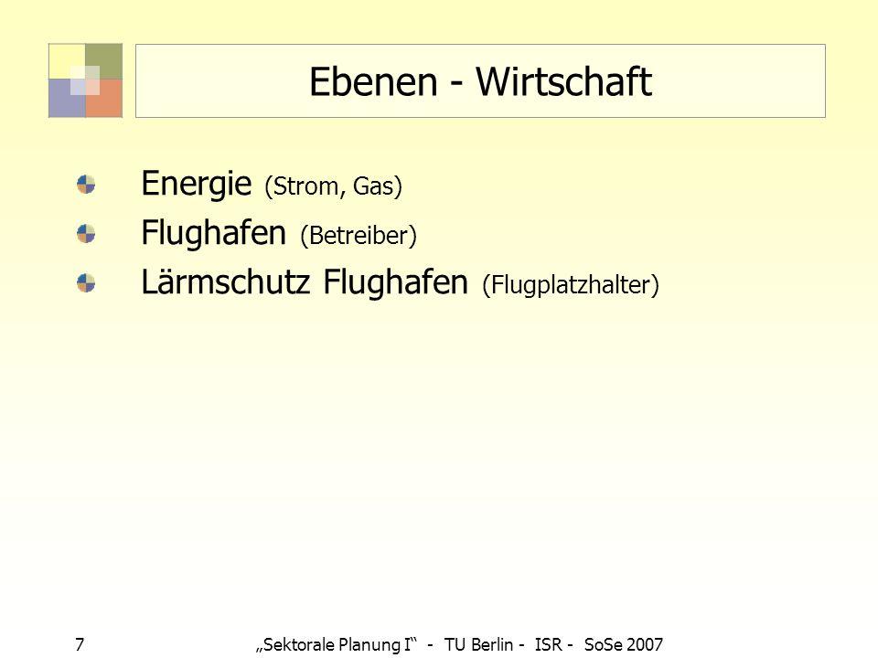 7 Sektorale Planung I - TU Berlin - ISR - SoSe 2007 Ebenen - Wirtschaft Energie (Strom, Gas) Flughafen (Betreiber) Lärmschutz Flughafen (Flugplatzhalt