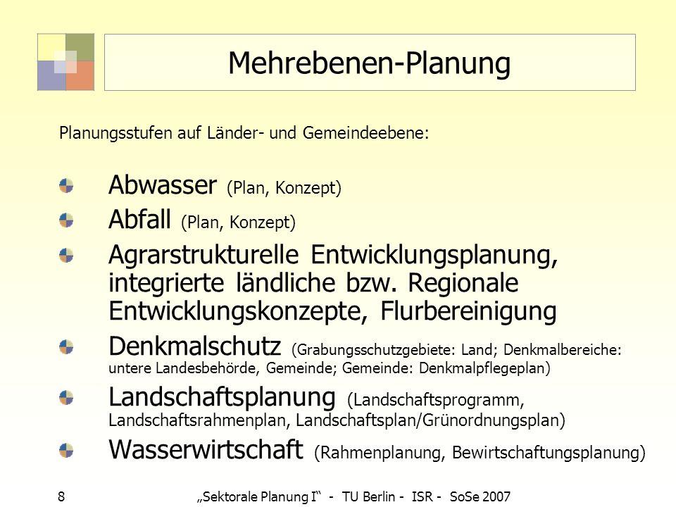 19 Sektorale Planung I - TU Berlin - ISR - SoSe 2007 Mehrstufigkeit von Fachplanung Fast alle Fachplanungen sind mehrstufig aufgebaut: von Selbstbindung zur Außenwirksamkeit Bsp.