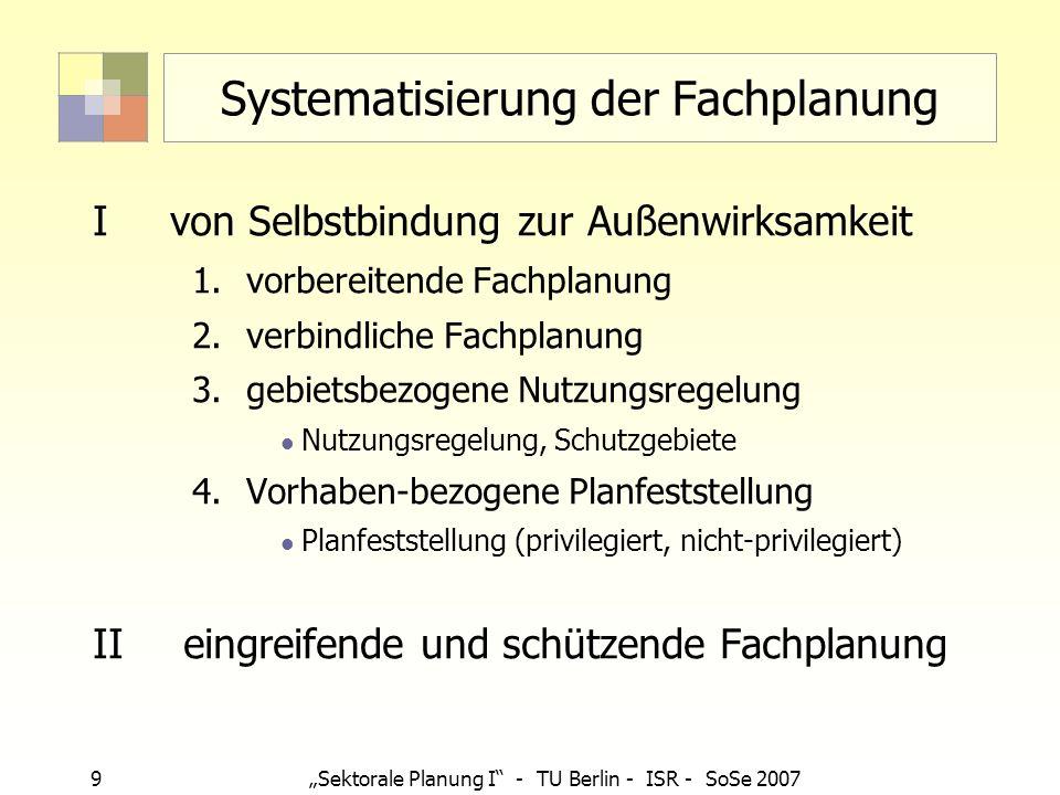 9 Sektorale Planung I - TU Berlin - ISR - SoSe 2007 Systematisierung der Fachplanung Ivon Selbstbindung zur Außenwirksamkeit 1.vorbereitende Fachplanu