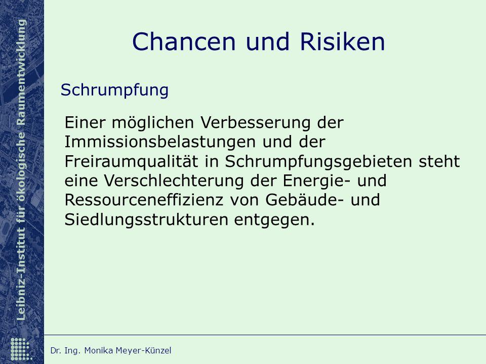 Leibniz-Institut für ökologische Raumentwicklung Dr. Ing. Monika Meyer-Künzel Chancen und Risiken Schrumpfung Einer möglichen Verbesserung der Immissi
