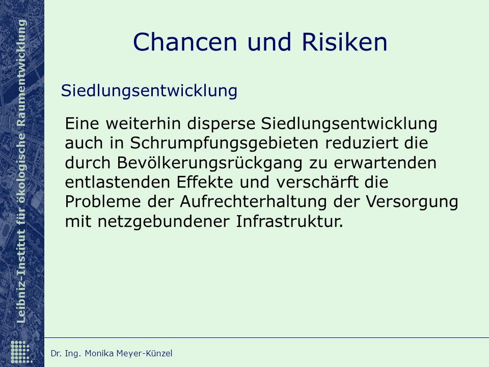 Leibniz-Institut für ökologische Raumentwicklung Dr. Ing. Monika Meyer-Künzel Chancen und Risiken Siedlungsentwicklung Eine weiterhin disperse Siedlun