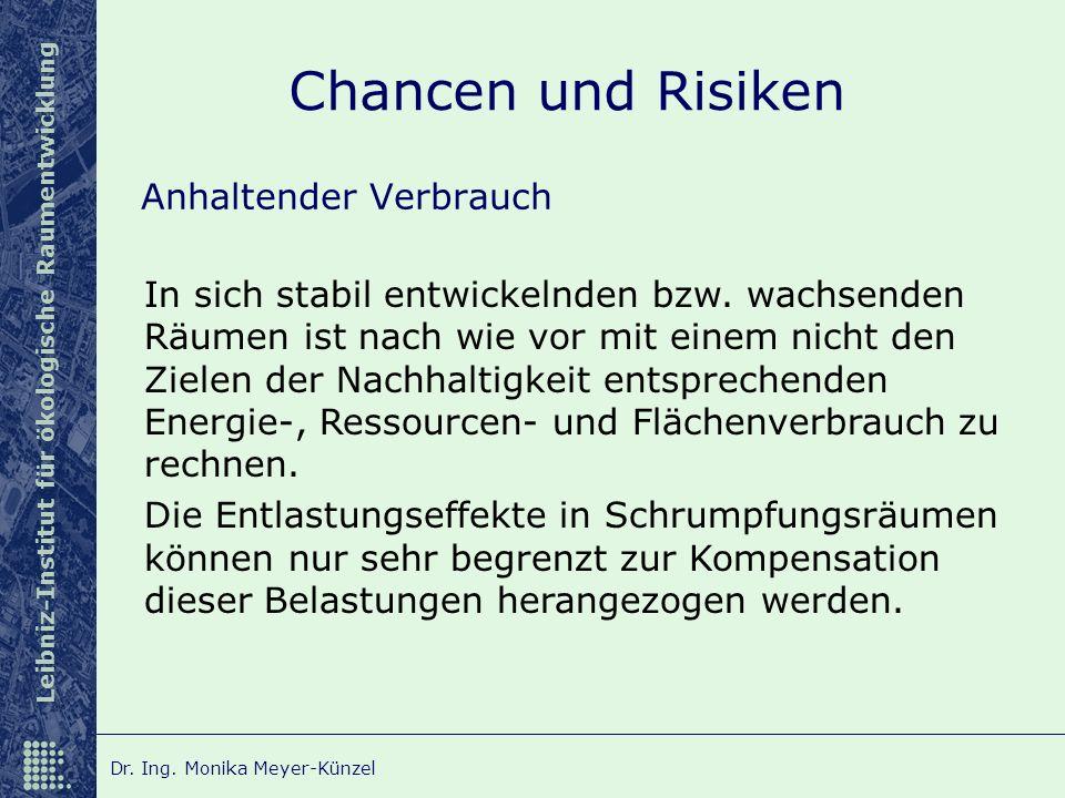 Leibniz-Institut für ökologische Raumentwicklung Dr. Ing. Monika Meyer-Künzel Chancen und Risiken Anhaltender Verbrauch In sich stabil entwickelnden b