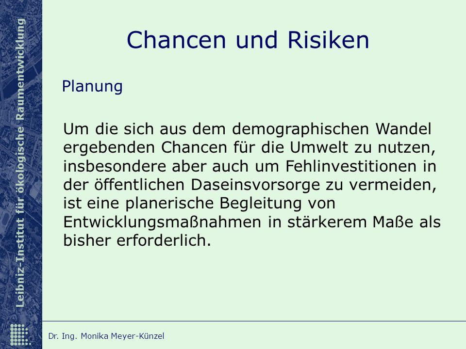 Leibniz-Institut für ökologische Raumentwicklung Dr. Ing. Monika Meyer-Künzel Chancen und Risiken Planung Um die sich aus dem demographischen Wandel e