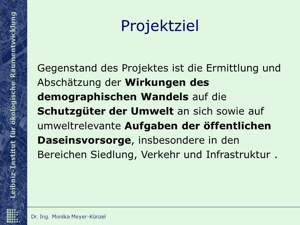 Leibniz-Institut für ökologische Raumentwicklung Dr. Ing. Monika Meyer-Künzel Projektziel Gegenstand des Projektes ist die Ermittlung und Abschätzung