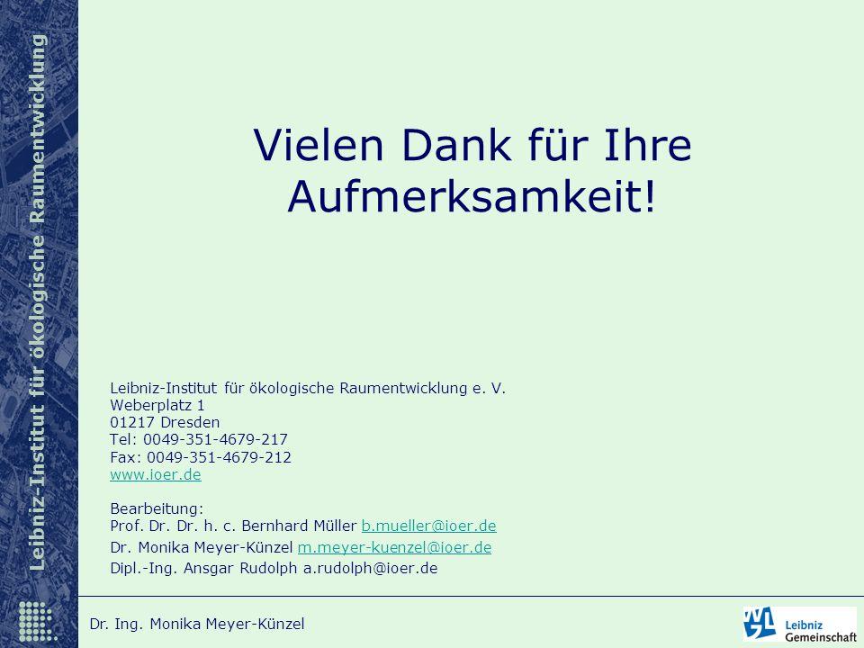 Leibniz-Institut für ökologische Raumentwicklung Dr. Ing. Monika Meyer-Künzel Vielen Dank für Ihre Aufmerksamkeit! Leibniz-Institut für ökologische Ra
