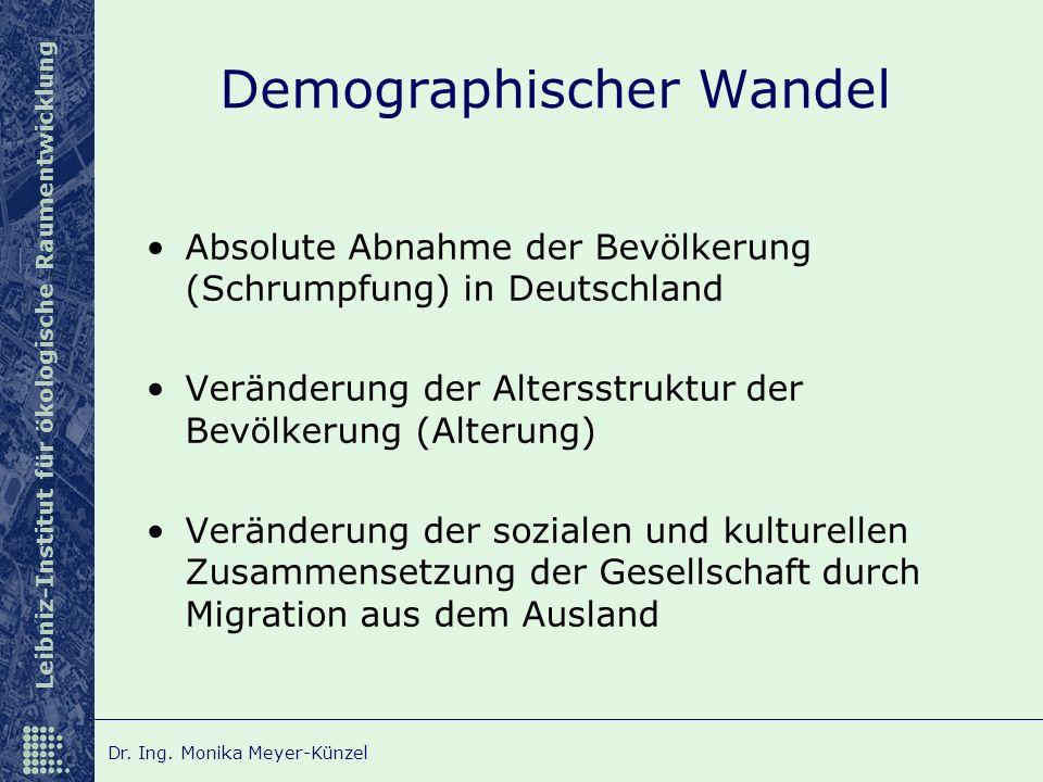 Leibniz-Institut für ökologische Raumentwicklung Dr. Ing. Monika Meyer-Künzel Demographischer Wandel Absolute Abnahme der Bevölkerung (Schrumpfung) in