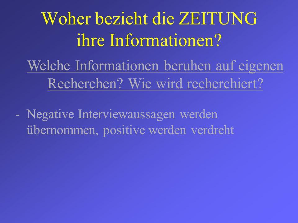 Woher bezieht die ZEITUNG ihre Informationen? -Negative Interviewaussagen werden übernommen, positive werden verdreht Welche Informationen beruhen auf