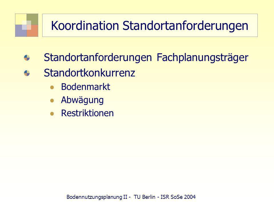 Bodennutzungsplanung II - TU Berlin - ISR SoSe 2004 Abwägung Private und öffentliche Belange Private Belange Eigentum, Grundstück, Besitz (Mieter) Alle Interessen, die nicht objektiv geringwertig oder nicht schutzwürdig sind Gemeinde (Selbstverwaltungskompetenz, Planungshoheit) Öffentliche Belange (Allgemeinwohlbelange überörtlicher Fachplanung)