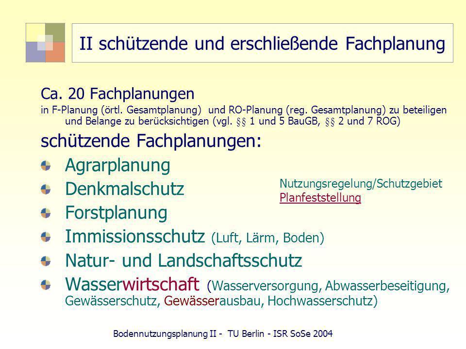 Bodennutzungsplanung II - TU Berlin - ISR SoSe 2004 II schützende und erschließende Fachplanung Ca. 20 Fachplanungen in F-Planung (örtl. Gesamtplanung