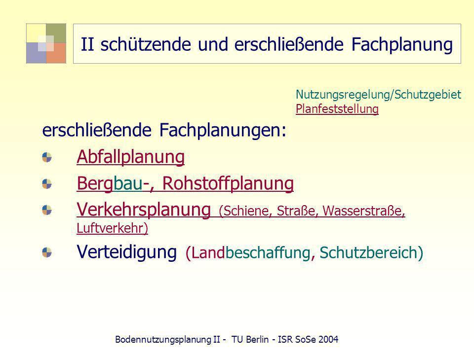 Bodennutzungsplanung II - TU Berlin - ISR SoSe 2004 II schützende und erschließende Fachplanung erschließende Fachplanungen: Abfallplanung Bergbau-, R