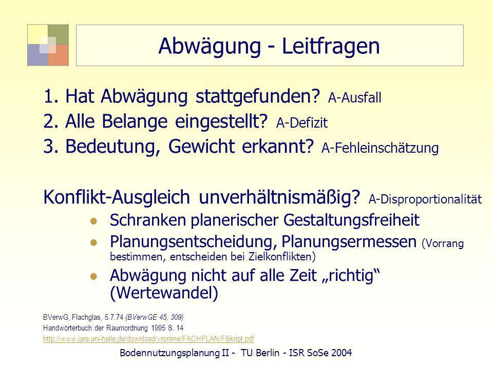 Bodennutzungsplanung II - TU Berlin - ISR SoSe 2004 Abwägung - Leitfragen 1. Hat Abwägung stattgefunden? A-Ausfall 2. Alle Belange eingestellt? A-Defi