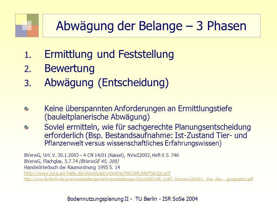 Bodennutzungsplanung II - TU Berlin - ISR SoSe 2004 Abwägung der Belange – 3 Phasen 1. Ermittlung und Feststellung 2. Bewertung 3. Abwägung (Entscheid