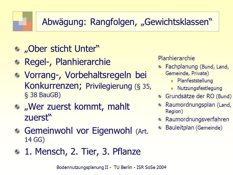 Bodennutzungsplanung II - TU Berlin - ISR SoSe 2004 Abwägung: Rangfolgen, Gewichtsklassen Ober sticht Unter Regel-, Planhierarchie Vorrang-, Vorbehalt