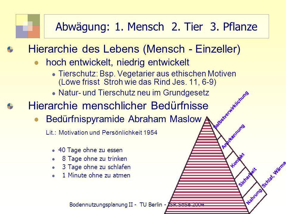 Bodennutzungsplanung II - TU Berlin - ISR SoSe 2004 Abwägung: 1. Mensch 2. Tier 3. Pflanze Hierarchie des Lebens (Mensch - Einzeller) hoch entwickelt,