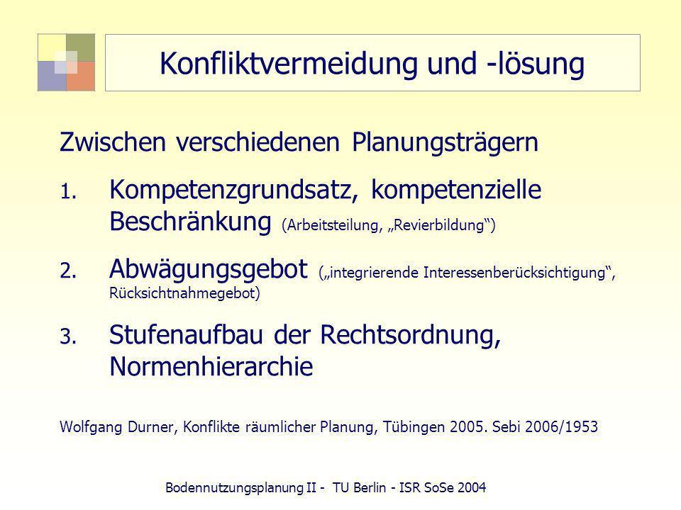Bodennutzungsplanung II - TU Berlin - ISR SoSe 2004 Konfliktvermeidung und -lösung Zwischen verschiedenen Planungsträgern 1. Kompetenzgrundsatz, kompe