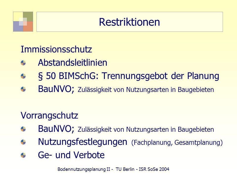 Bodennutzungsplanung II - TU Berlin - ISR SoSe 2004 Restriktionen Immissionsschutz Abstandsleitlinien § 50 BIMSchG: Trennungsgebot der Planung BauNVO;