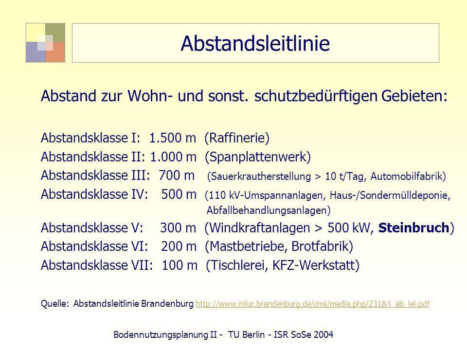 Bodennutzungsplanung II - TU Berlin - ISR SoSe 2004 Abstandsleitlinie Abstand zur Wohn- und sonst. schutzbedürftigen Gebieten: Abstandsklasse I: 1.500
