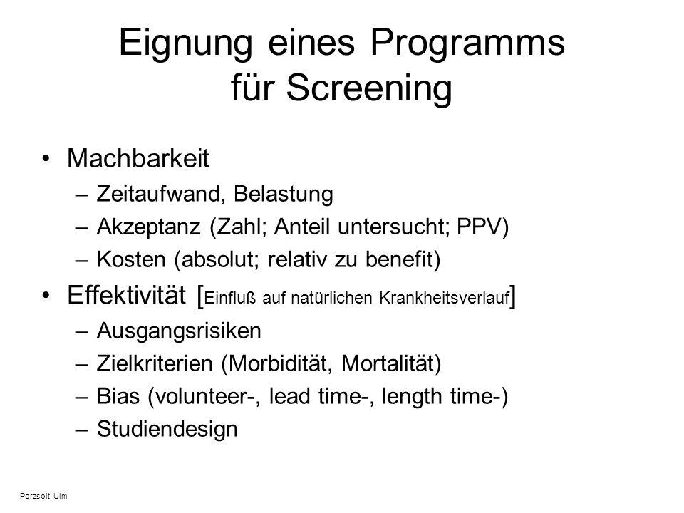 Eignung eines Programms für Screening Machbarkeit –Zeitaufwand, Belastung –Akzeptanz (Zahl; Anteil untersucht; PPV) –Kosten (absolut; relativ zu benef