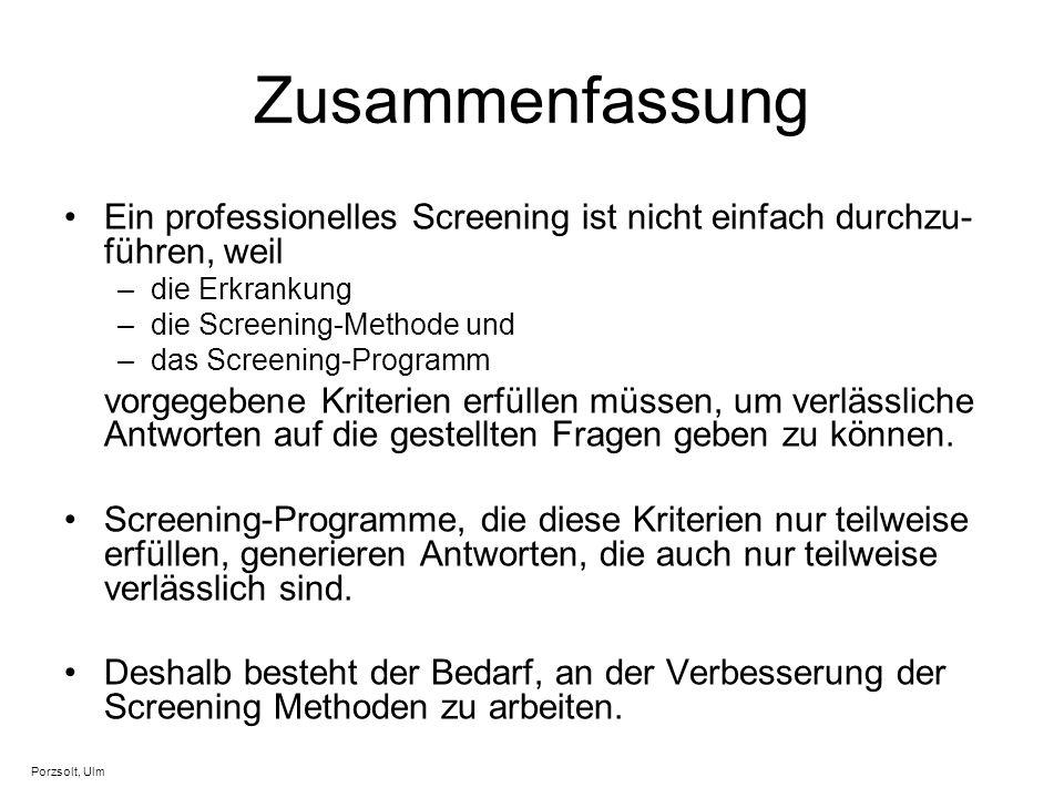 Zusammenfassung Ein professionelles Screening ist nicht einfach durchzu- führen, weil –die Erkrankung –die Screening-Methode und –das Screening-Progra