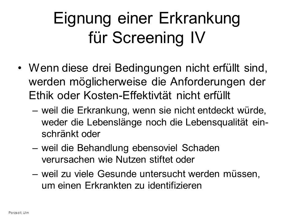Eignung einer Erkrankung für Screening IV Wenn diese drei Bedingungen nicht erfüllt sind, werden möglicherweise die Anforderungen der Ethik oder Koste