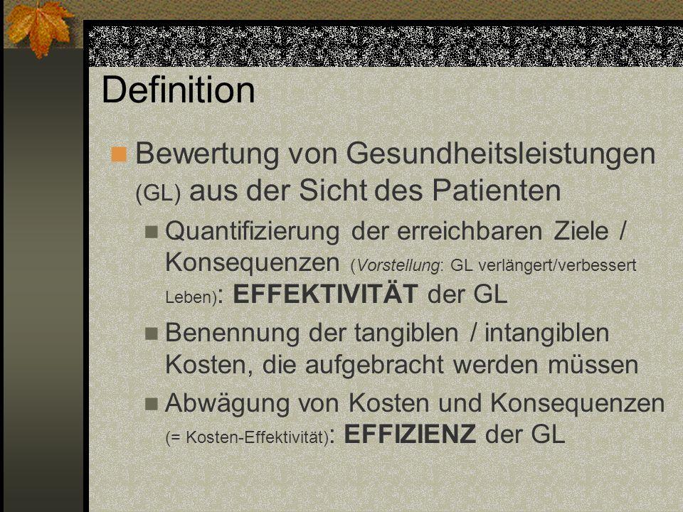 Definition Bewertung von Gesundheitsleistungen (GL) aus der Sicht des Patienten Quantifizierung der erreichbaren Ziele / Konsequenzen (Vorstellung: GL
